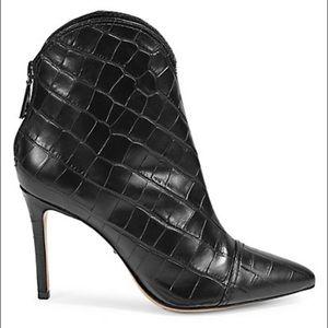 NEW SCHUTZ Celia Croc-Embossed Stiletto Bootie